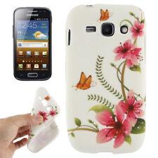 TPU Case für Samsung S7272 Galaxy Ace 3 Schmetterlinge Blumen rosa weiß Etui