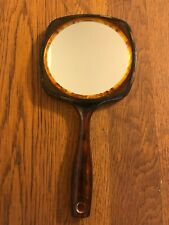 Large Vintage Hand Mirror Tortoise Shell Design Bakelite Vanity Double Sided