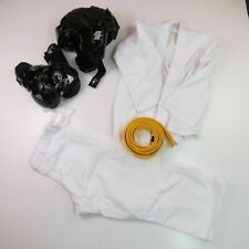 Childs Karate Gi Martial Arts Outfit Sparring Helmet and Gloves Yellow Belt Sz 8