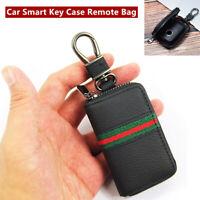 Leather Car Auto Smart Key Case Remote Bag Unisex Key Chain Holder Zipper Pouch