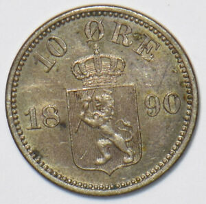 Norway 1890 10 Ore Lion animal N0213 combine shipping