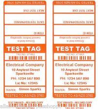 1000 CUSTOM ORANGE Printed Electrical Adhesive Test Tag Labels