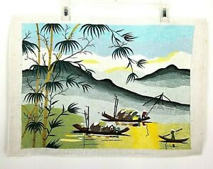 Vintage Silk Embroidered Asian Landscape Fishermen Picture Unframed