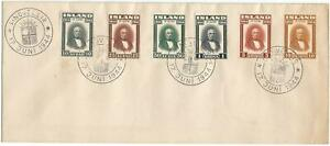 """Iceland 1944 First Day Cover, 6 stamps, cancelled """"Lingvellir"""""""