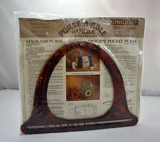 Vintage Purse-N-Able Tortoise Shell Handle-Macrame Crochet Weaving Fabric Plans