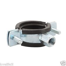 """1/2"""" BSI PIPE MOUNTING BRACKET M6 M8 20-23mm BZP CARBON STEEL RUBBER LINING"""