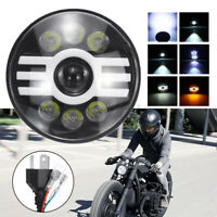 "7"" Motorcycle Halo Ring LED Headlight Front Light IP68 For Yamaha Honda"