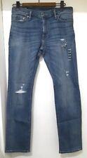 NUOVO ABERCROMBIE & FITCH Landon Slim Stretch Strappato Jeans, Blu-W30 x L30