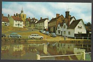 Postcard Finchingfield nr Braintree Essex vintage view motor cars by duck pond