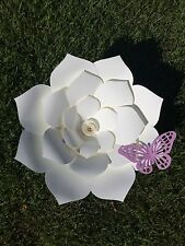 Large Paper Flower With Butterfly, Backdrop Flower, Wedding Decor, Wall Flower
