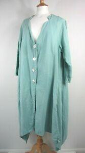 Vintage Sahara Pure Linen Green Lagenlook Coat Size M/L UK 14-16