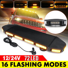 72 LED Roof Strobe Light Bar 12/24V Magnet Emergency Beacon Warning Flash Lamp