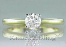 Solitaire Very Good Cut Yellow Gold VS2 Fine Diamond Rings