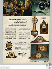 1954 PAPER AD 4 PG Sessions Electric Clock Alarm Colonial Banjo Wall Gothic