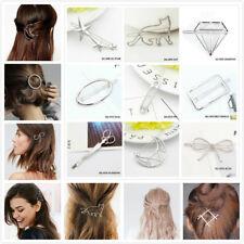 Women Girls Silver Hair Clips Metal Hair Clip Barrette Slide Grips Hairpin Clamp