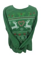 Ladies Green Holiday Time Christmas Jumper Size XL 16-18