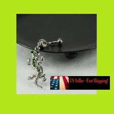 14ga Green Gecko Belly Navel Ring Stainless Steel Curved Barbell