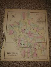 Vintage 1870 Chichester Hopkins Atlas Map,Delaware County,Pennsylvania