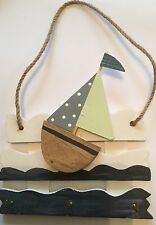 Wooden BOAT Keyrack Key Rack - 3 hooks - Nautical Seaside Decor