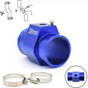 Car 38mm Water Temp Temperature Radiator Hose Joint Pipe Adapter Blue Universal