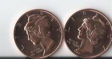(2)   1 OZ .999 Fine Copper Peace mercury head  Round Bullion - AVDP - Coin
