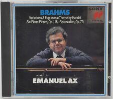JOHANNES BRAHMS Piano Pieces, Op 118 Rhapsodies Op 79 EMANUEL AX  CD