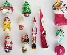 10 Embossed Vintage Figural Xmas Ornaments Santas Angel Stocking Trees Candy