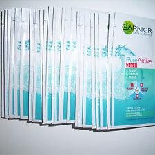 GARNIER PURE ACTIVE 3 IN 1 FACE WASH SCRUB MASK 28 x 4ml SACHETS NEW