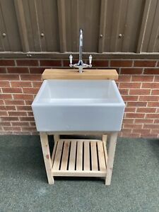 Belfast Sink Stand Unit , Oak Ledge With Large Ceramic Sink & Lever Taps £495