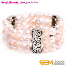 """8-9mm Pearl Cluster Beads Beaded Stretch Bracelet Bangle 7"""" Jewelry Gift Box"""