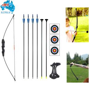 Kids Long Bow and Arrow Takedown Recurve Archery Set Basic Pack 6x Arrows Toy AU