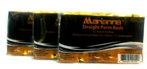 """MARIANNA STRAIGHT PERM RODS ~ SHORT YELLOW 3/8"""" ~ Lot of 3 (12 Pack Ct)!!"""