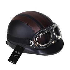 Motorrad Helm Stahlhelm Jethelm Rollerhelm mit Schutzbrille Hutkrempe Hotsell