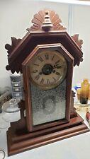 New ListingAntique E. Ingraham 30 Hour Gingerbread Carved Wooden Shelf Mantle Clock Running
