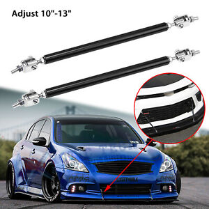 "For Infiniti G37 Adjustable 10""-13"" Bumper Black Support Stabilizer Splitter Bar"