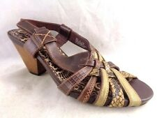 CLARKS Women Size 7M Brown Heels Sandals Pumps Peep Toe Faux Snake Print