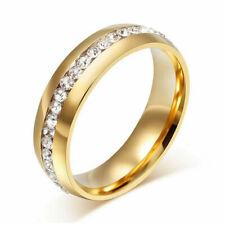 8Mm Men Women Band Ring Wedding Zirconia StoneStainless Steel Gold Sz 8
