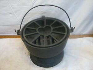 Rare Antique Cast Iron Kettle BBQ Grill Heart Top Grate Gate Mark Japanese