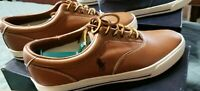 Polo Ralph Lauren Men's Vaughn Casual Sneaker in Size 10 Tan Leather New w/Box