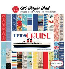 Carta Bella LET's CRUISE 6x6 Paper Pad 24pc Travel Ship Vacation Retro Echo Park