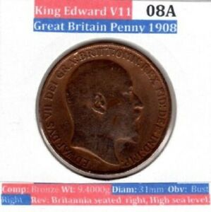 1908 One Penny 1d Coin King Edward VII Great Britain (looks polished)(Item: 08A)
