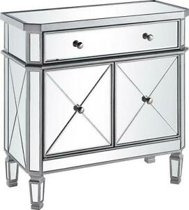 SIDE CABINET CONTEMPORARY CLEAR SILVER BRUSHED STEEL MIRROR SOLID WOOD CA