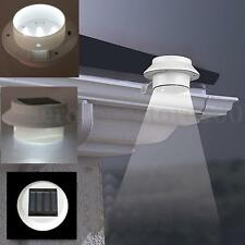 3 LED Solar Power Auto Light Sensor Garden Fence Gutter Outdoor Clip Wall Lamp