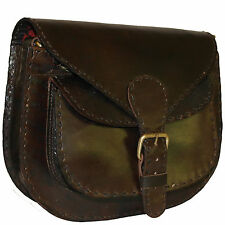 Real Leather handmade Retrò Vintage MARRONE SCURO BORSA A TRACOLLA BORSA SELLA PELLE 100%
