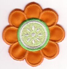 Orange Flower with Lime Center Embroidery Patch Applique