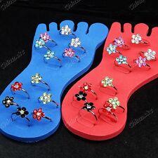 48pcs Wholesale jewelry Lots Mix Color Full Czech Rhinestone Flower Toe Rings