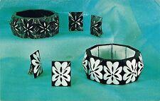 Vintage Fashion Etch Jewelry ~ Plastic Expansion Bracelet & Clip~On Earrings