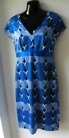 STUNNING MONSOON BLUE PRINTED SILK & COTTON SMART DAY DRESS SIZE 10 OCCASION R10