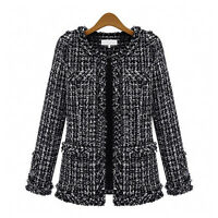 Stylish Winter Women Tweed Vintage Overcoat Woolen Trench Jacket Coat Blazer