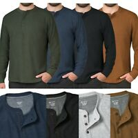 Mens Thermal Henley Jumper Top Grandad Neck Long Sleeve Waffle Knit T-Shirt New